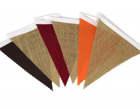 BUNTING - Hessian, Orange , Red & Brown - Autumn - 3m